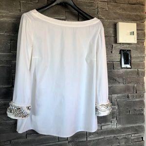 Prada white cotton blouse crystal cuffs